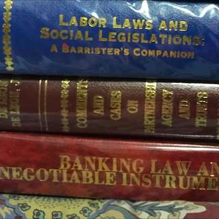 Banking Law And Negotiable Instruments Law, Comments And Cases On partnership Agency And Trusts, Labor Laws And Social Legislation