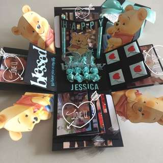 Baby Pooh Bear Explosion Box With 8 Waterfall In Black & Tiffany