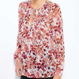 Authentic MANGO floral Sheer Top