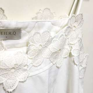 全新 MerierQ白色蕾絲細肩背心