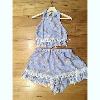 Peppermayo Light Floral Blue Crop and Shorts Set