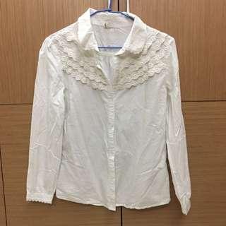 [女裝]白色長袖襯衫