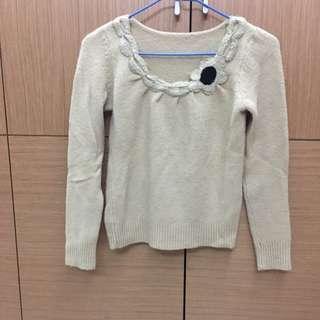 [女裝]淺黃色長袖毛衣