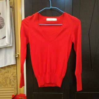 🚚 日本帶回Zara紅色v領針織衫