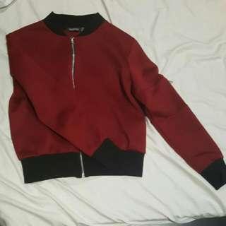 Boohoo Red bomber jacket size 6