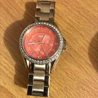 Fossil Orange Gold Watch