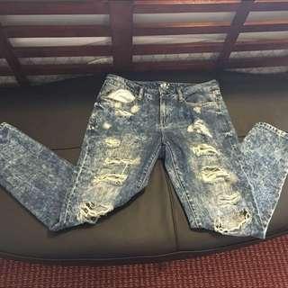 Garage Ripped Acid Wash Jeans