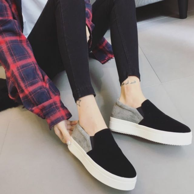 預購 39/24.5碼 韓版麂皮撞色拼接懶人鞋