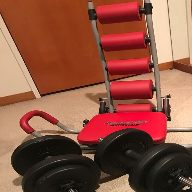 Ab work Out With Dumbbells (20kgs) And Jumping Rope (Rebook)