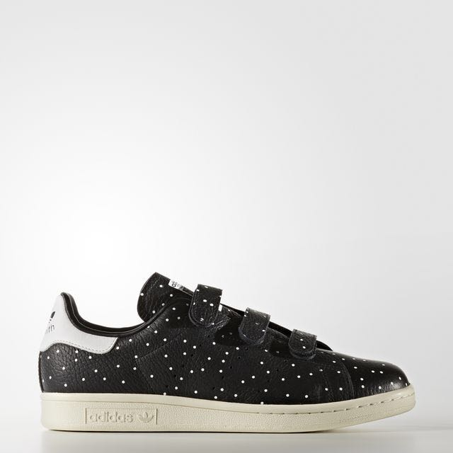 fa025292f53c0d Adidas Stan Smith Velcro - Black   White Dots