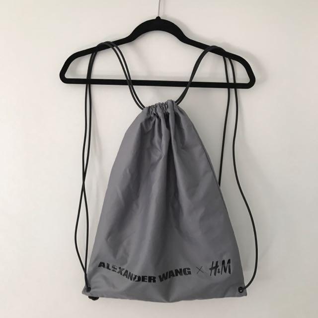 ALEXANDER WANG X H&M SILVER DRAWSTRING BAG
