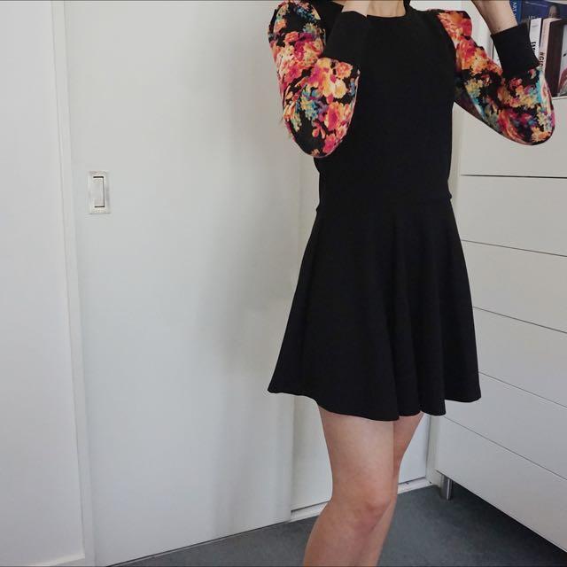 A-Line Black Accent Dress