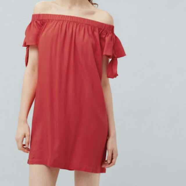Authentic MANGO red Off-shoulder dress