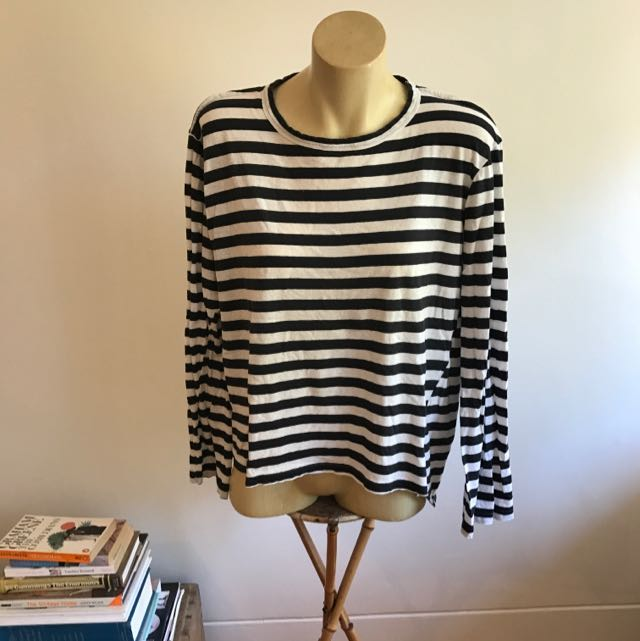 Bassike Long Sleeves Striped Tee