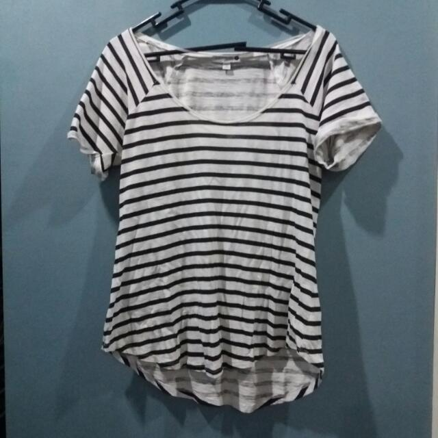 BLACK AND WHITE STRIPED COTTON ON SHIRT