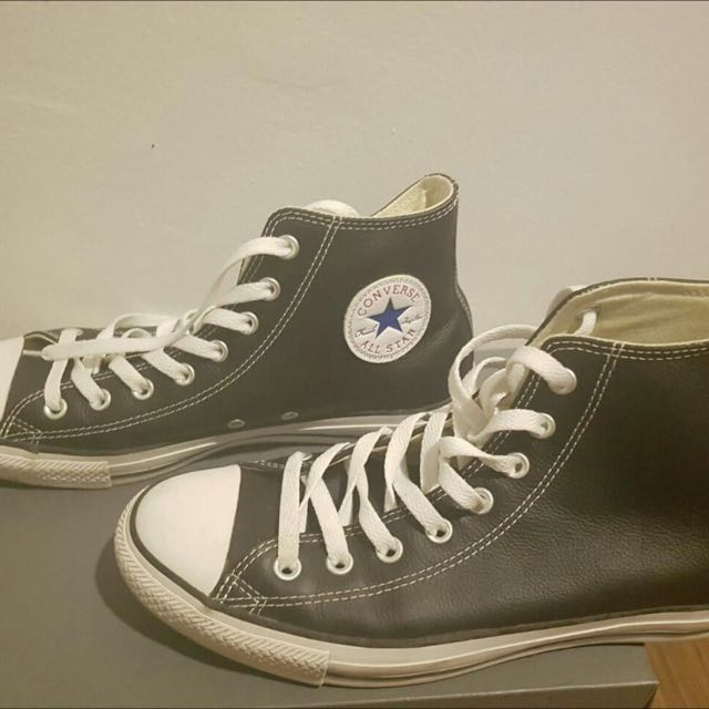 Black Faux Leather Converse Sneakers