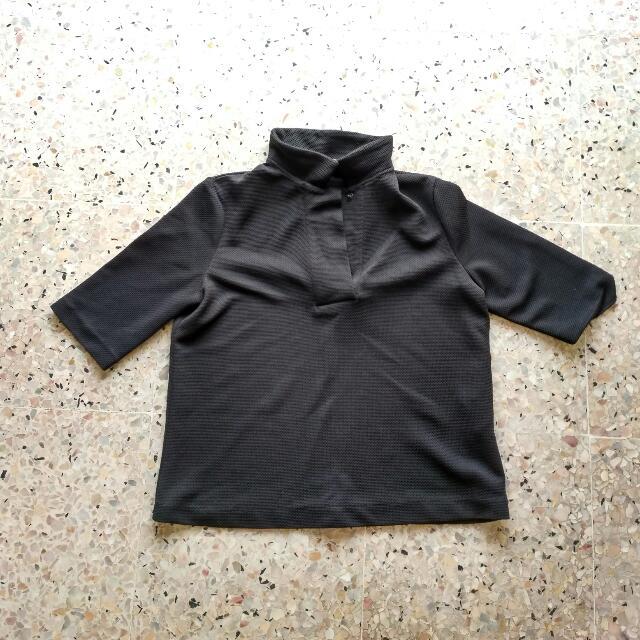 BUY 2 GET 1 FREE Black High Collar Crop Top