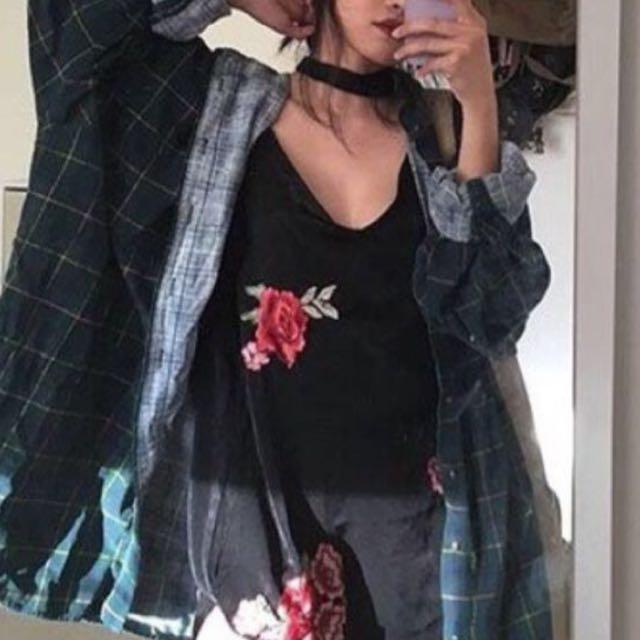 Black Slip On With Rose