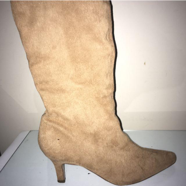 Brown / Beige Women's Suede Boots