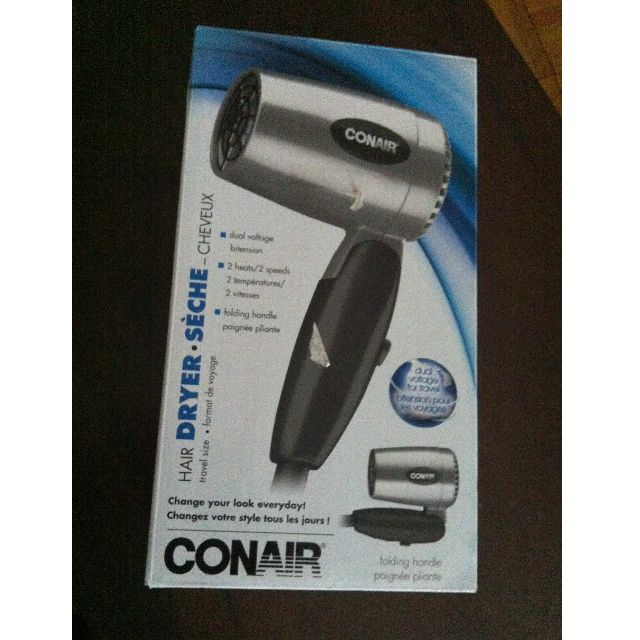 CONAIR DUAL VOLTAGE TRAVEL SIZE HAIR DRYER