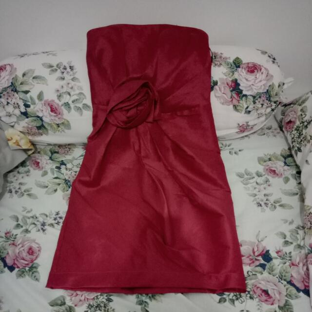Dress Kemben Red Wine
