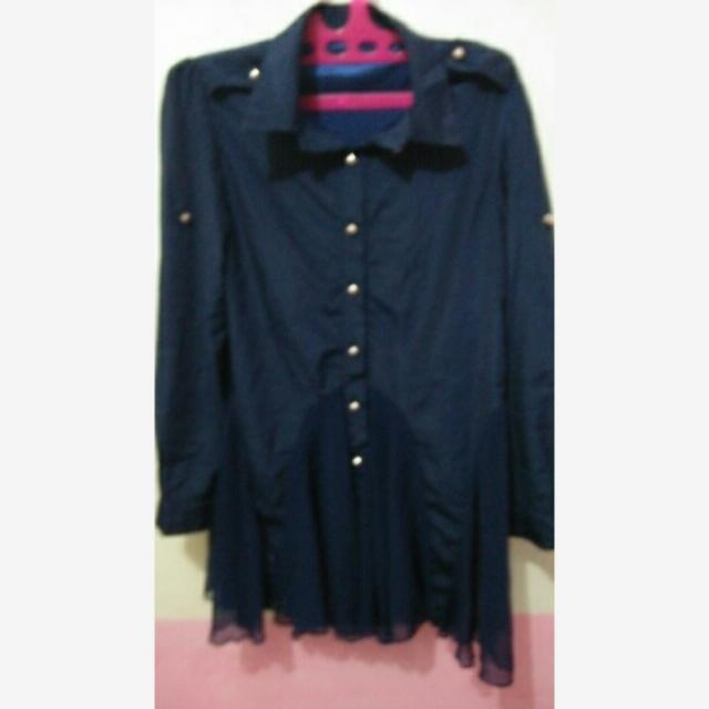 Dress Lengan Panjang Navy