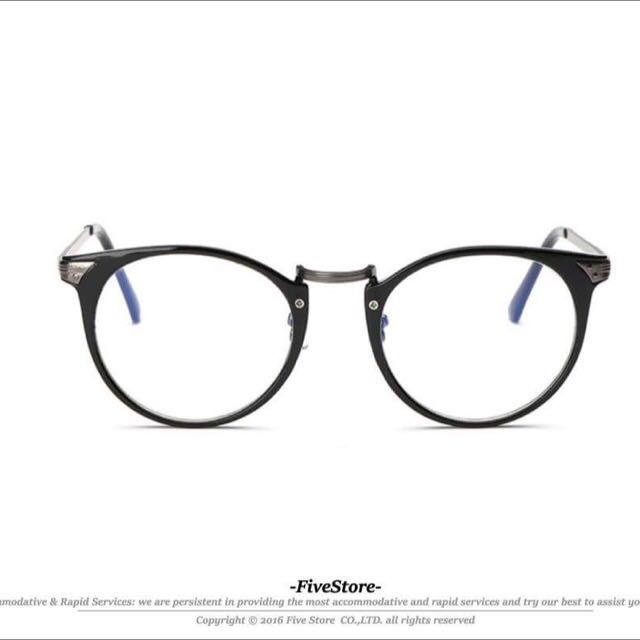 【F42】圓框眼鏡 黑色 銀色 裸邊 圓框 復古 韓國 鏡框 鏡片 藍光 余文樂