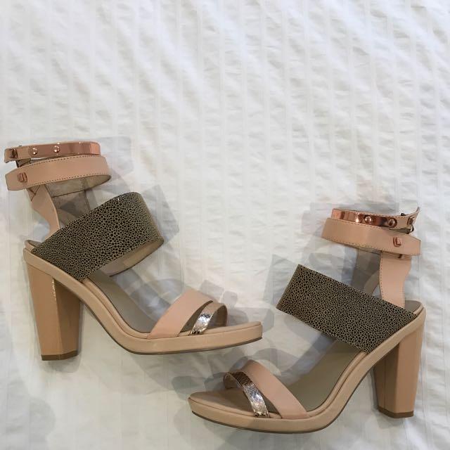 Ginger And Smart Rose Gold High Heel Sandals