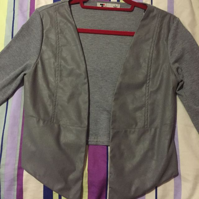 Grey Jacket With Leather Panels Size Small
