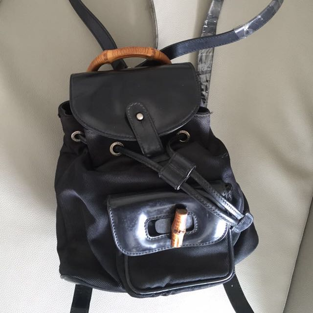Gucci Mini Backpack Leather With Bamboo Handle Authentic
