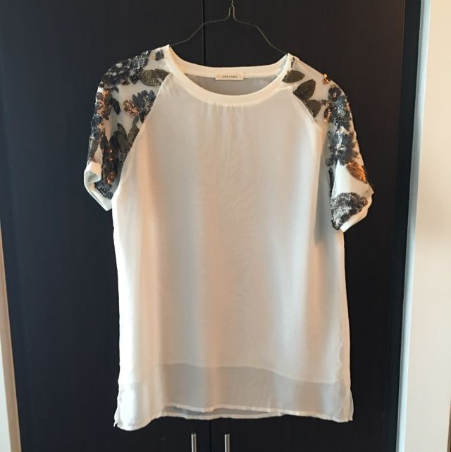 honey - Short Sleeve Sequin Sheer T-Shirt