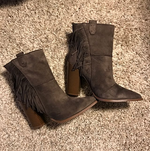 JustFAB Chocolate Cowboy Fringe Booties