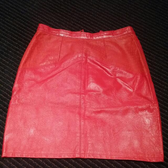M & N High-waisted Red Leather Skirt