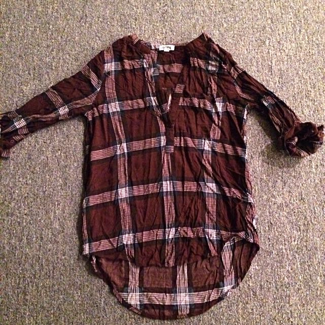 Maroon Plaid Top