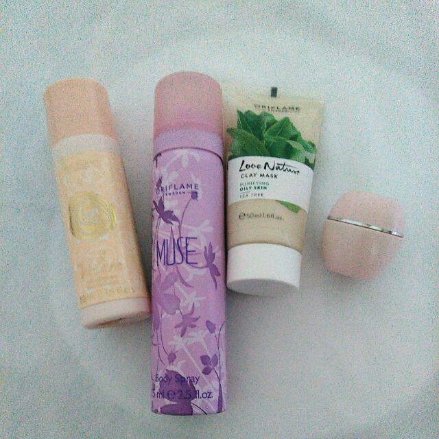 Take All Oriflame Tea Tree Clay Mask , Volare Deo, Muse body spray, Tender Care