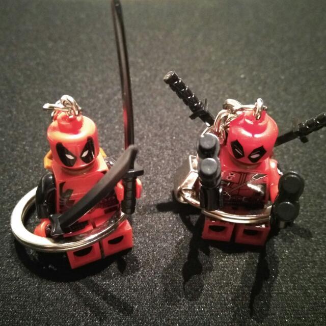 Pair of Brand New Lego Deadpool Keychains