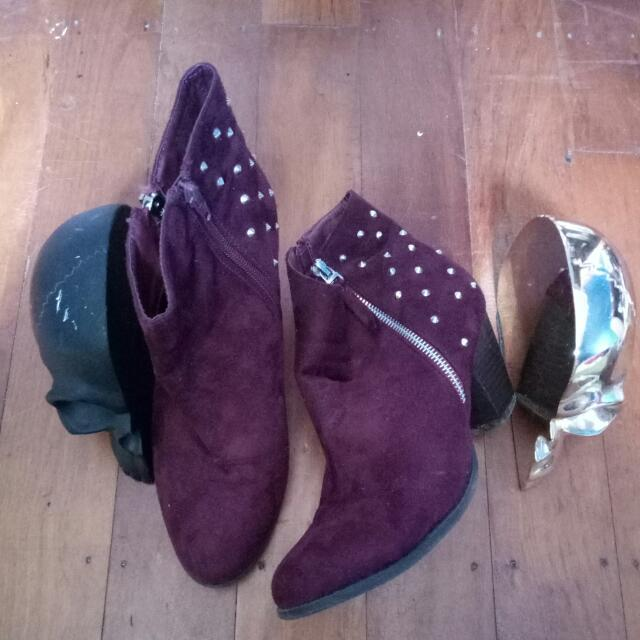 Plum Studded Healed Boots