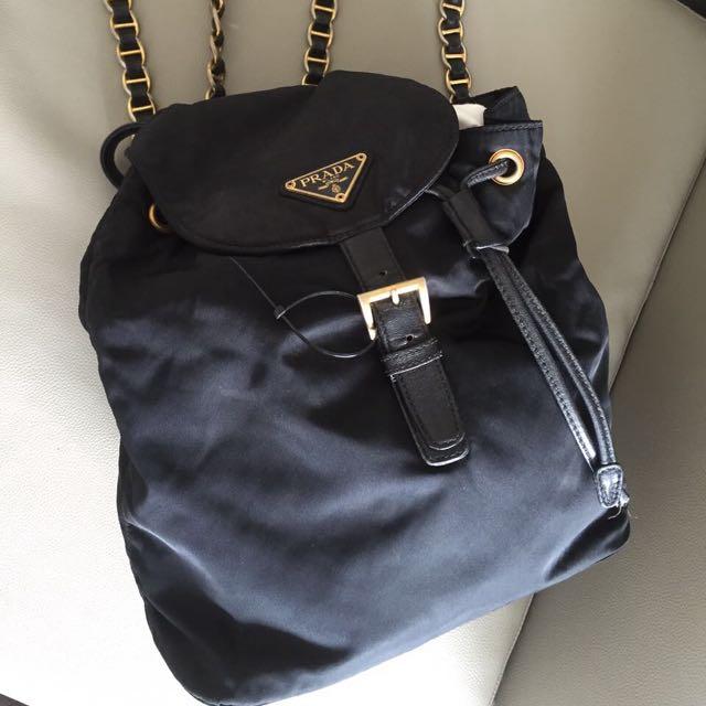 Prada Backpack Nylon Gold Hardware Authentic
