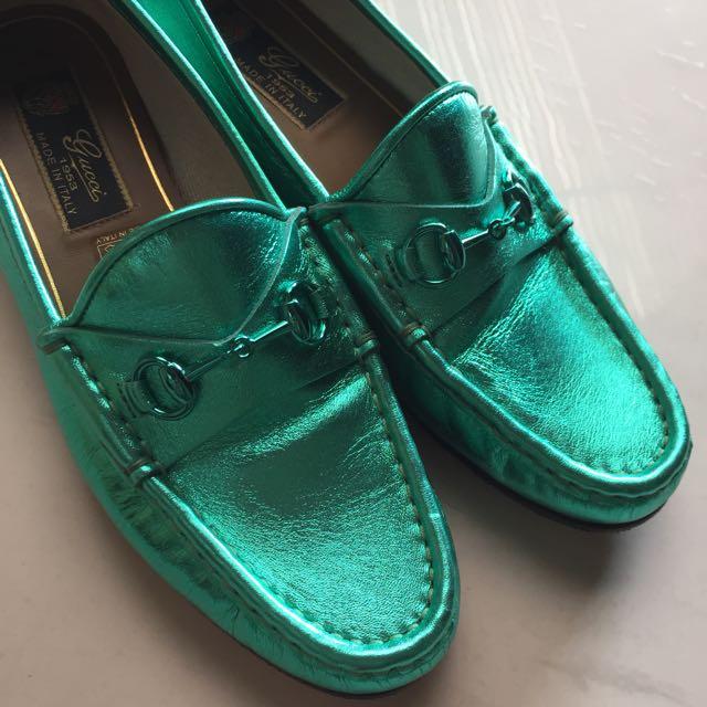39876e4c86f Preloved Authentic Gucci Metallic Seafoam Loafers (Price Reduced ...