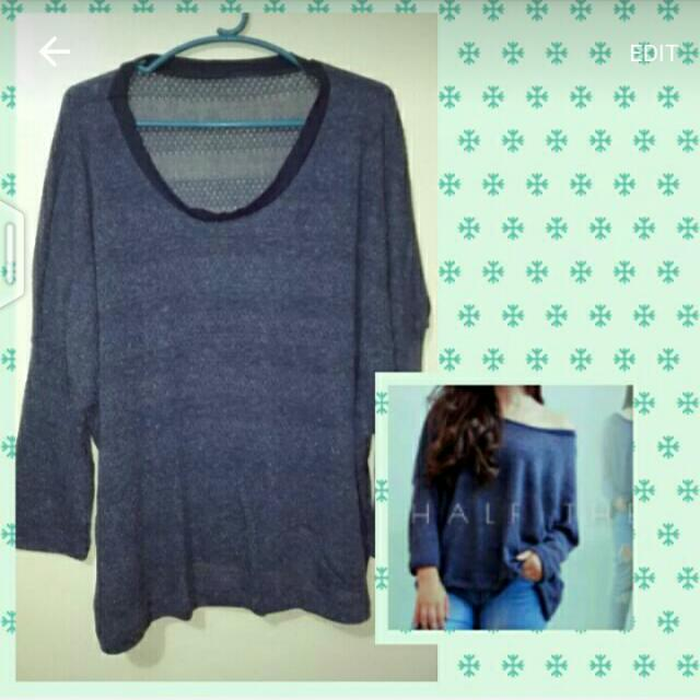 SALE!!! Blue Knit Pullover/Off Shoulder