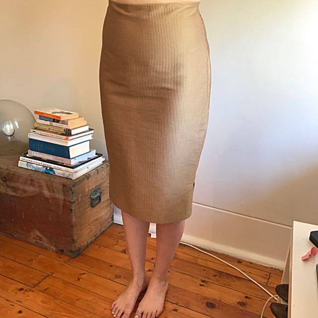 Scanlan Theodore Metallic Gold Pencil Skirt