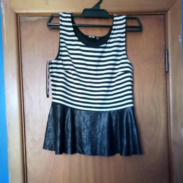 Striped Fake Leather Shirt