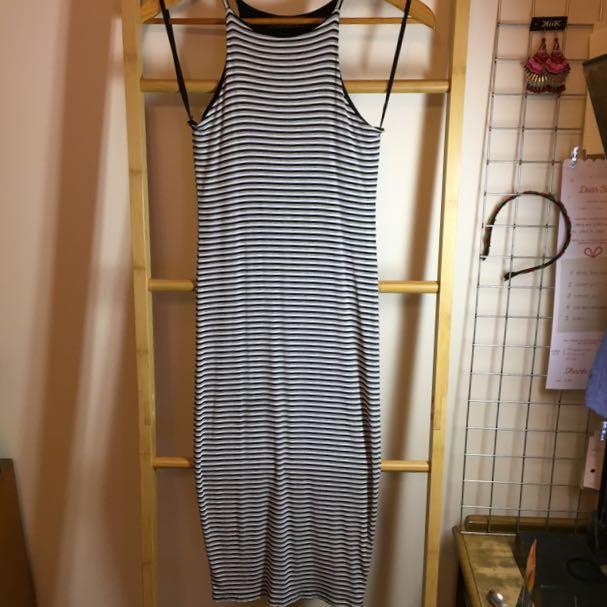 Striped Racerback Midi Dress Size 8