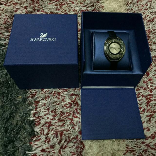 10cfb2dad4e0 Swarovski Crystalline Oval Black Tone Watch