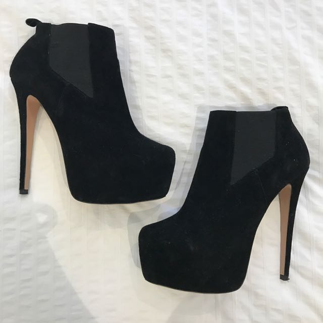Tony Bianco Black Suede Ankle High Heel Boot