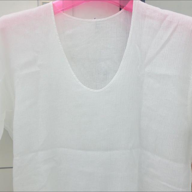 V Neck White Shirt