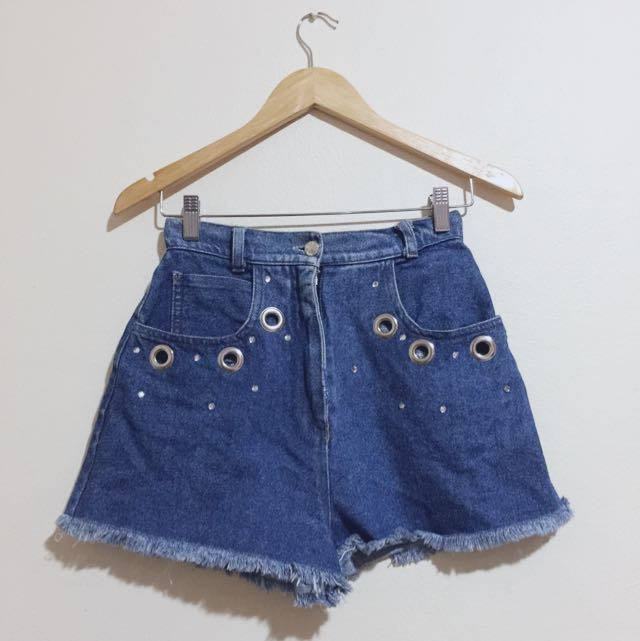 Vintage High- Waisted Denim Shorts