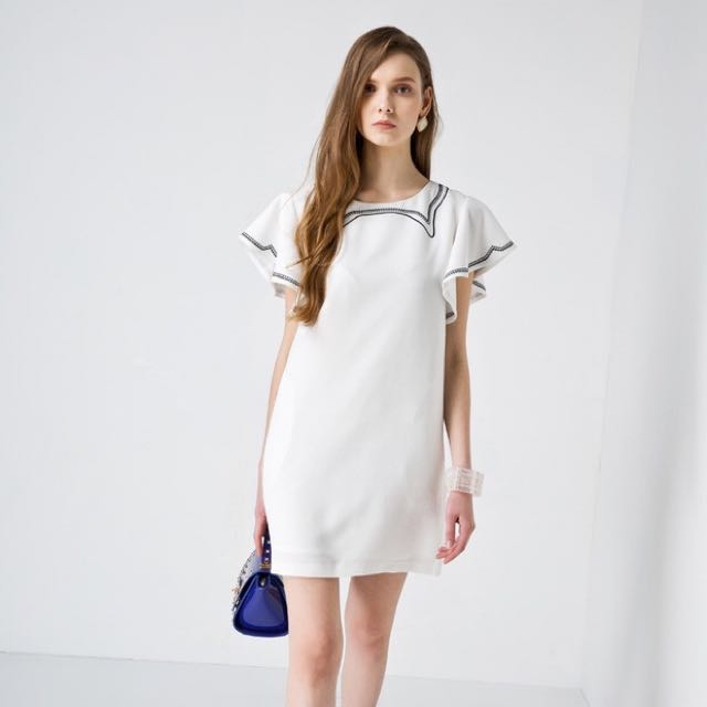 white Summer Dress With Sleeve Details