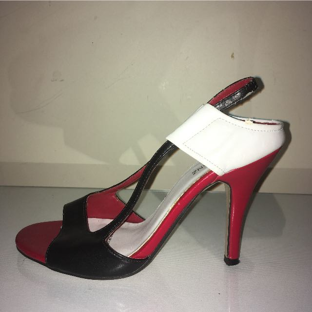 Women's Black, White And Red Heels