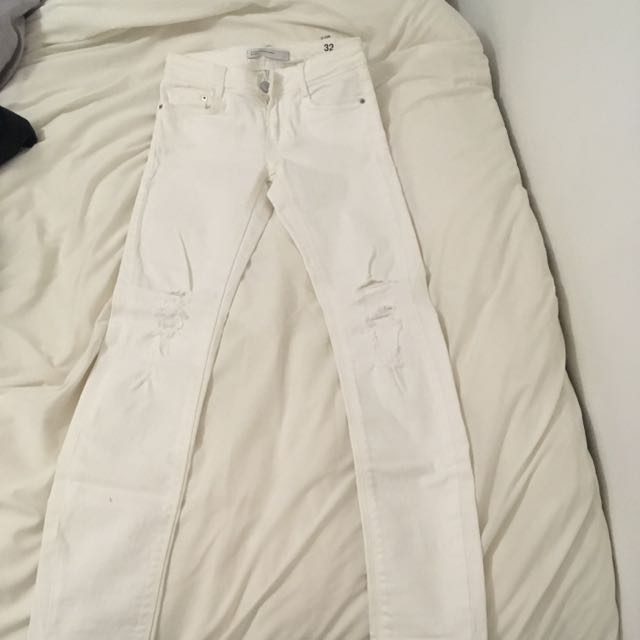 Zara White Destroy Pants